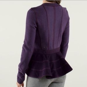 Lululemon ruffled up peplum purple sweatshirt